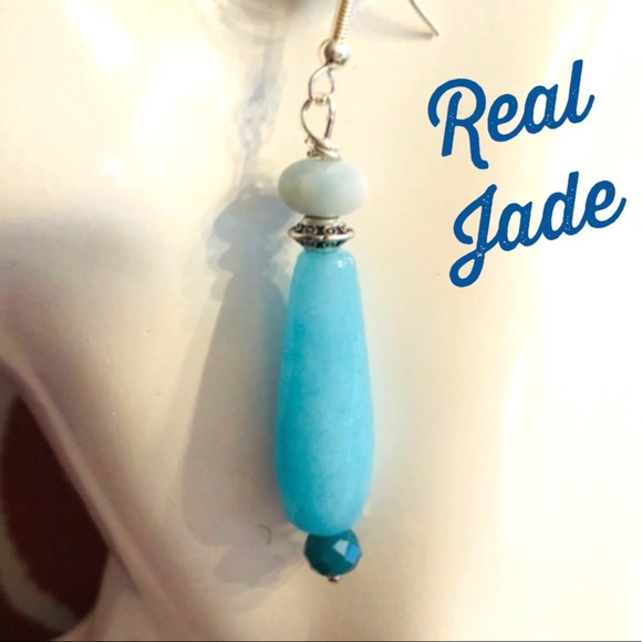 Frontrow.style Jewelry - Sterling Silver Earrings Blue Jade Beautiful Color